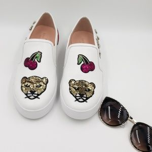 Kate Spade Lizbeth hite leather W/patches Slip ons